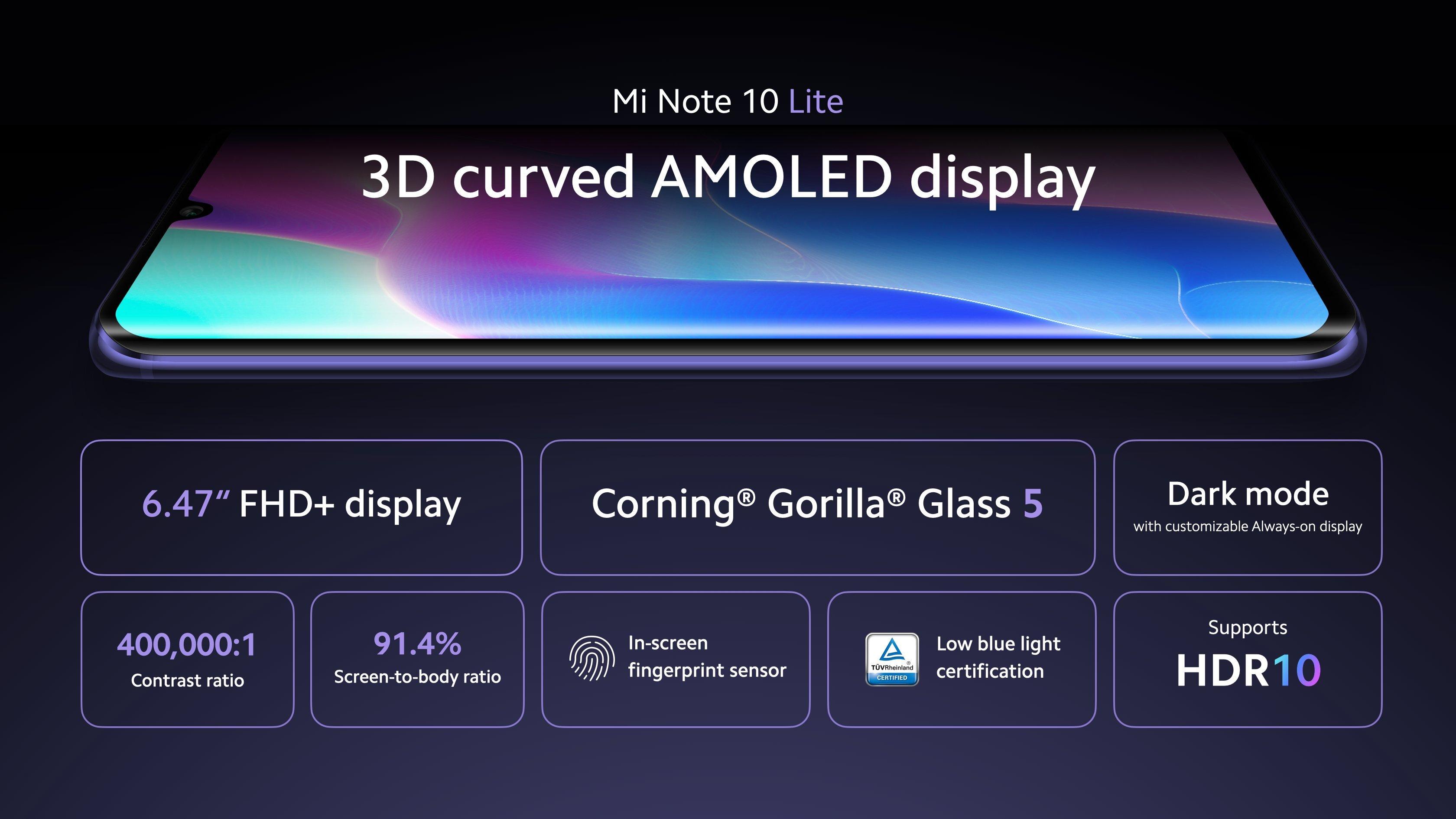 طراحی گوشی Mi Note 10 Lite